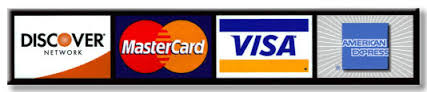 We accept all major credit cards Visa, Mastercard, American Express, Discover Card